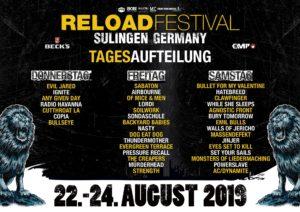 Reload Festival 2019 - Tagesaufteilung und Tagestickets